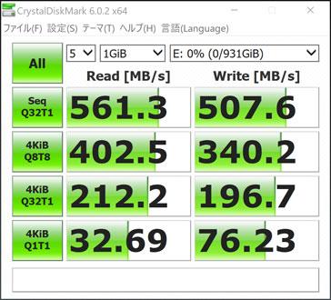 SSD(SATA)の転送速度