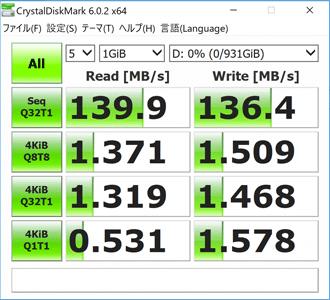 DAIV-NG7510のHDD転送速度