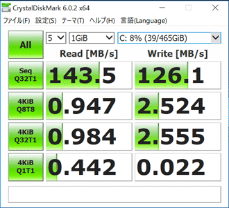 DAIV-NG4500E5のHDD転送速度