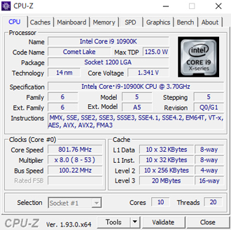 CPU-Zの結果