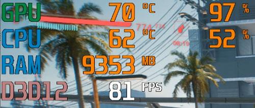 ゲーム中のCPU温度